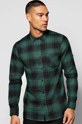 boohoo Long Sleeve Buffalo Brushed Check Shirt