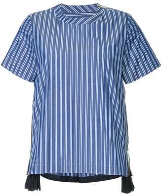 Sacai side zip striped T-shirt