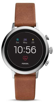 Fossil Q Explorist HR Brown Leather Strap Touchscreen Smartwatch, 40mm