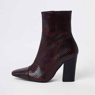 River Island Burgundy snake embossed block heel boots