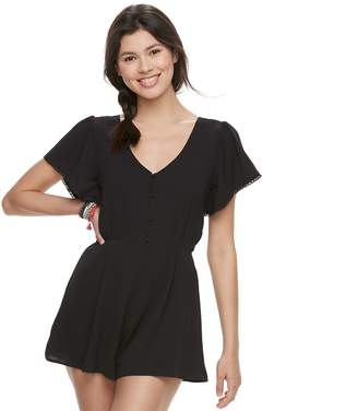 Trixxi Juniors' Button Front Short Sleeve Romper