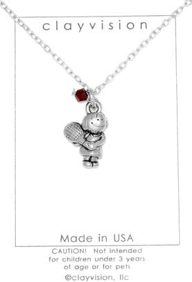 Swarovski Clayvision Tennis Girl Charm Necklace with a 4mm Garnet Colored Dark Red Crystal January
