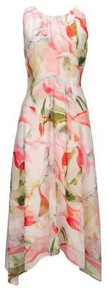 Wallis Blush Floral Print Hanky Hem Fit and Flare Dress