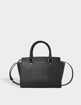 MICHAEL Michael Kors Selma Md Tz Satchel Bag in Black Saffia Leather