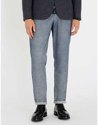 Eleventy Relaxed-fit straight cotton-blend trousers