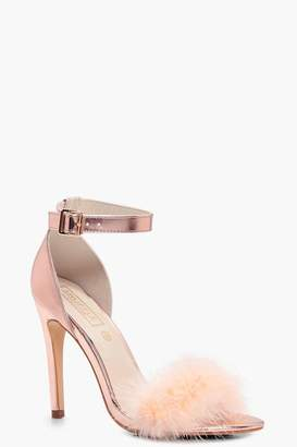 boohoo Charlotte Feather Trim Two Part Heels