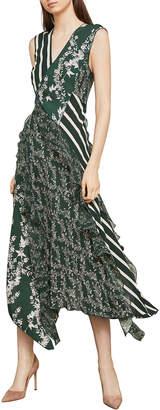BCBGMAXAZRIA Stripes & Floral Print Faux-Wrap Sheath Dress