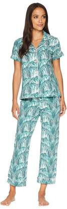 BedHead Short Sleeve Classic Cropped Pants Two-Piece Pajama Set Women's Pajama Sets
