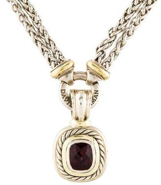 David Yurman Garnet Albion Pendant Double Wheat Chain Necklace