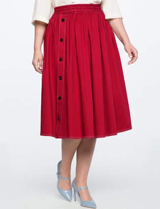 Side Snap Button Midi Skirt