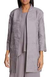 Eileen Fisher Stand Collar Organic Cotton & Silk Jacket