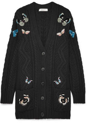 Valentino Appliquéd Cable-knit Wool Cardigan - Black