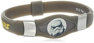 Star Wars Jewelry Unisex Rebels Stormtrooper Steel and Black Silicone Kid's Glow Bracelet