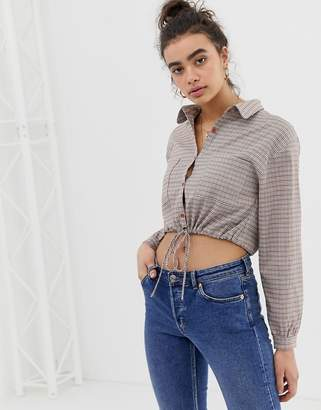 Emory Park tie front blouse in check