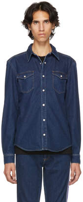 Givenchy Blue Denim Logo Tape Shirt