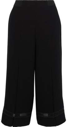 Elie Tahari Reese Crochet-Trimmed Crepe Culottes