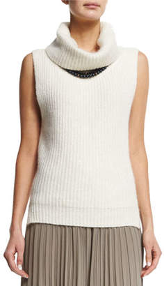 Peserico Sleeveless Sparkled Turtleneck Sweater