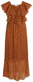 Vila 14055247 VIBRIA FLORAL PRINTED BROWN MAXI DRESS 13457501 - small