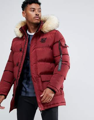 SikSilk parka jacket with faux fur hood in burgundy