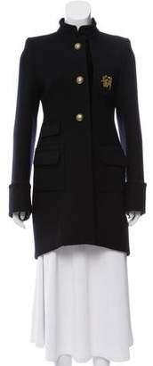 Balenciaga Velvet-Trimmed Military Coat