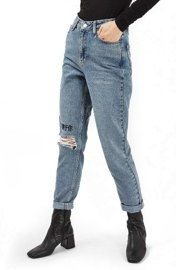 TopshopWomen's Topshop I Don'T Belong To You Embroidered Mom Jeans