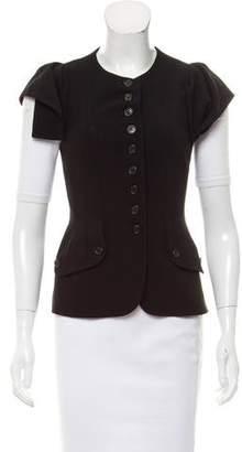 Michael Kors Ruffle-Accented Cap Sleeve Jacket