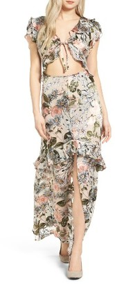 Women's For Love & Lemons Luciana Silk Maxi Dress $317 thestylecure.com