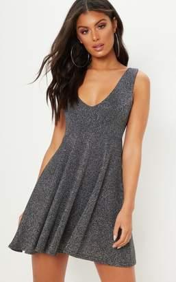 PrettyLittleThing Silver Plunge Textured Glitter Skater Dress 7ca21beb0
