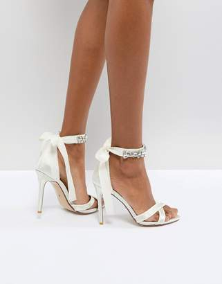 Dune London Dune Bridal Bridal Morgen Heeled Sandal with Gem Ankle Tie