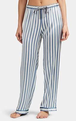 Morgan Lane Women's Chantal Candy-Striped Silk Satin Pajama Pants - Lt. Blue