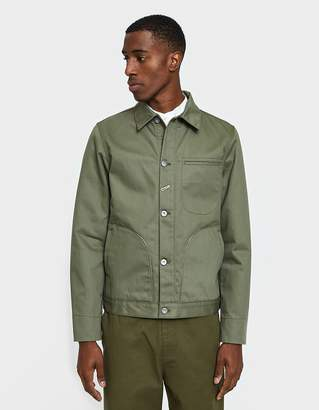 Rogue Territory Lined Supply Jacket in Olive Herringbone