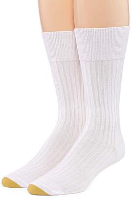 Gold Toe 2 Pair Comfort Non Elastic Rib Crew Socks
