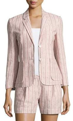 ATM Anthony Thomas Melillo Cotton Linen School Boy Blazer, Pink Pattern