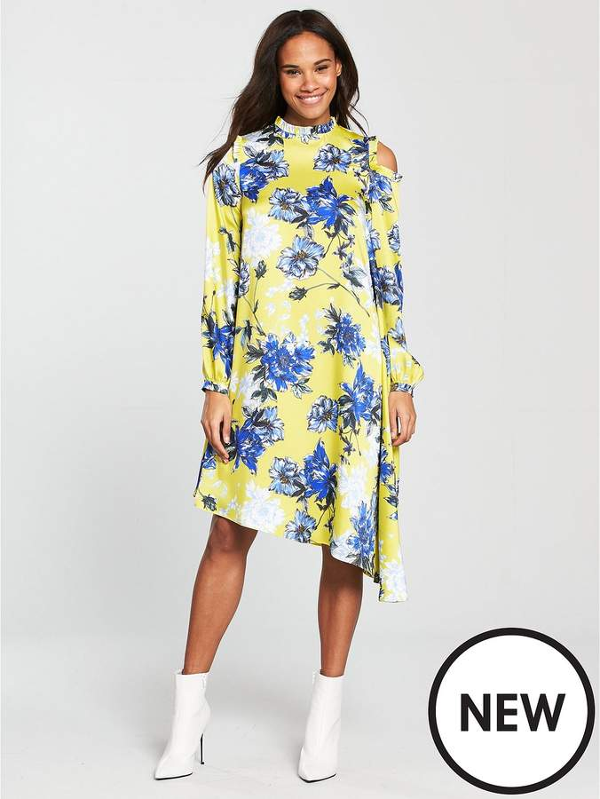 V By Very Unique Asymmetric Printed Frill Dress - Yellow