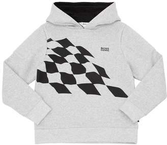 HUGO BOSS Checkered Flag Print Cotton Sweatshirt
