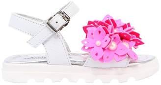 Flower Embellished Leather Sandals