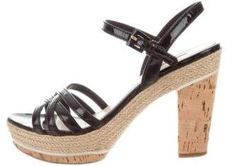 Prada Sport Patent Leather Cork Sandals