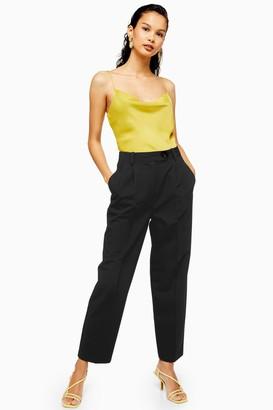 Topshop Womens Black Smart Peg Trousers - Black