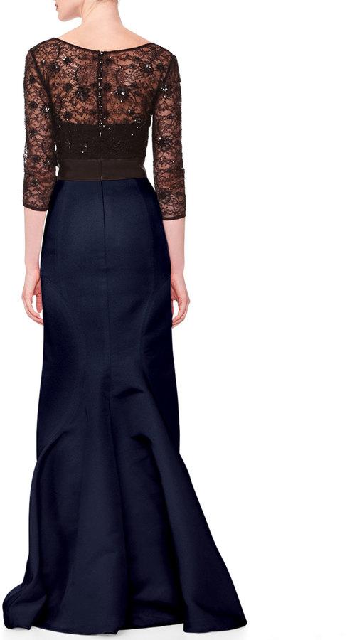 Carolina Herrera Lace-Top Taffeta Gown, Black/Ultramarine