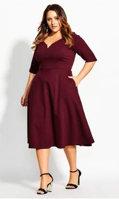 City Chic Citychic Cute Girl Elbow Sleeve Dress - merlot