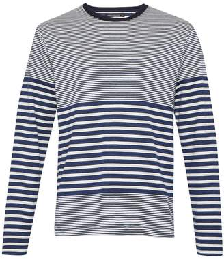 French Connection Men's Double Face Striped Long Sleeved Top