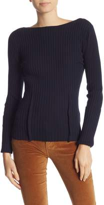 Frame Long Sleeve Knit Ribbed Sweater