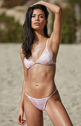 LA Hearts Contrast Binding Light Pink Triangle Bikini Top