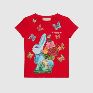 Gucci Children's T-shirt with rabbit print
