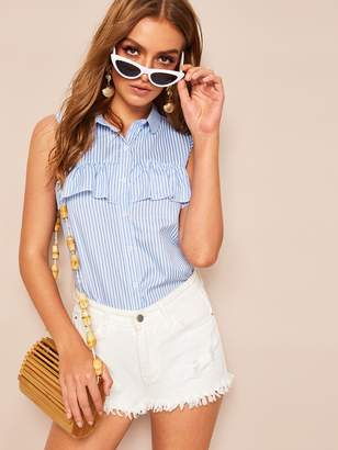 Shein Ruffle Trim Vertical Striped Sleeveless Shirt