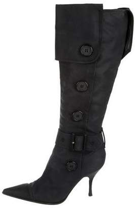 Sergio Rossi Woven Knee-High Boots