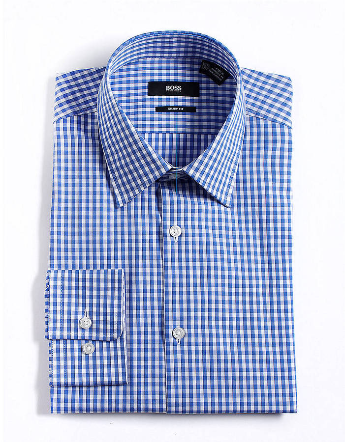 HUGO BOSS Checkered Cotton Dress Shirt