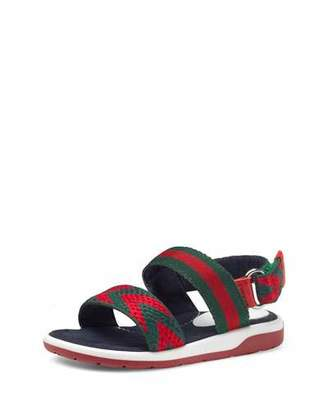 Gucci Chevron Leather Sandal, Green/Red, Toddler $225 thestylecure.com