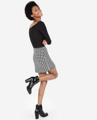 Express High Waisted Houndstooth Straight Mini Skirt