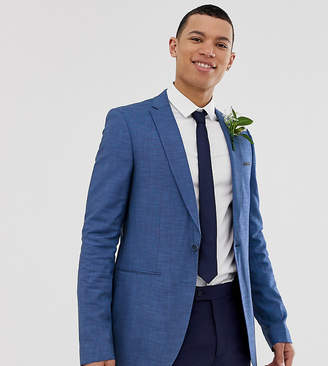Asos DESIGN TALL Wedding Slim Suit Jacket in Blue Tonic